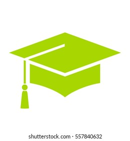 Green academic hat vector icon isolated on white background. Graduation cap icon.