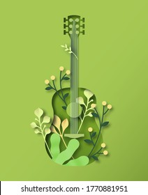 Green acoustic guitar instrument in 3D paper cut craft style with natural decoration and plant leaf. Sounds of nature, live music event illustration concept.
