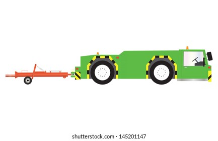 A Green Airport Pushback Tractor and Towbar
