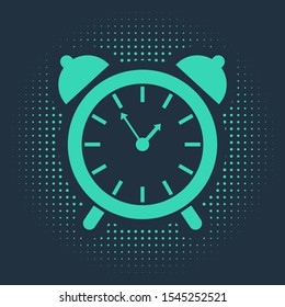Green Alarm clock icon isolated on blue background. Wake up, get up concept. Time sign. Abstract circle random dots. Vector Illustration