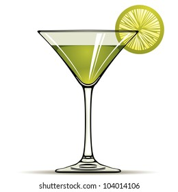 Green alcohol cocktail with green lime isolated on white, vector illustration.