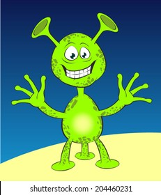 Green alien. Jolly extraterrestrial with three legs and big ears.