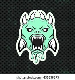 Green alien modern logo for a sport team. Premade logotype. Vector illustration