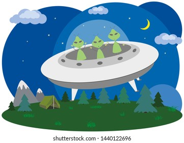 Green aliens on a spaceship. Strangers fly on a flying saucer in the night sky. World UFO Day.