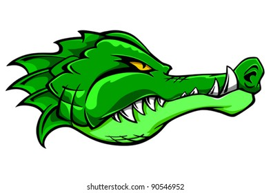 Green alligator crocodile head for tattoo or mascot design, such a logo. Jpeg version also available in gallery