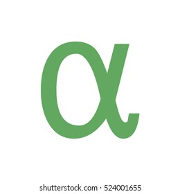 Green alpha letter vector icon. The Greek alphabet