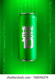 green Aluminum can with drink in liquid with bubbles of gas on background with backlight
