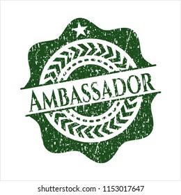 Green Ambassador distressed rubber stamp