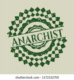 Green Anarchist distress rubber stamp