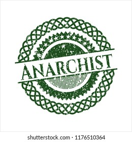 Green Anarchist grunge seal