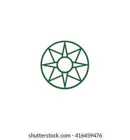 Green ancient symbol icon Star of Ishtar vector illustration