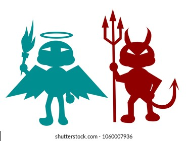 green angel and a red devil isolated on white background