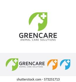 Green Animal Care, green, clinic, animal, pet, dog, pet care, health. Vector logo template