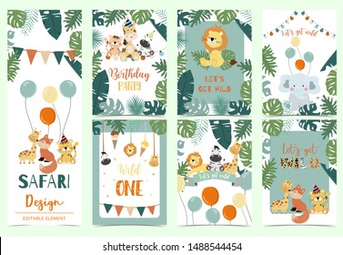 Green animal collection of safari background set with lion,fox,giraffe,zebra,balloon vector illustration for birthday invitation,postcard and sticker.Wording include wild one,wild and free