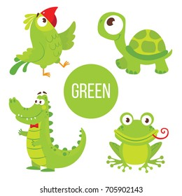 Green Animals. Cute Characters for education card. Childish Stickers