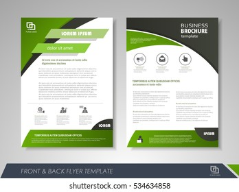 Green annual report brochure flyer design template. Leaflet cover presentation abstract background for business, magazines, posters, booklets, banners. Layout in A4 size Easily editable vector format