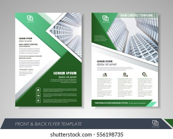 Green annual report brochure flyer design template. Leaflet cover presentation abstract background for business, magazines, posters, booklets, banners.