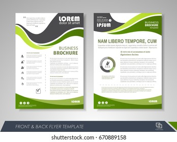 Green annual report brochure flyer design template. Leaflet cover presentation abstract background for business, magazines, posters, booklets, banners. Layout in A4 size. Easily editable vector format