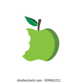 Green apple with bite, vector illustration