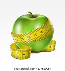 Green apple with centimeter on a white background