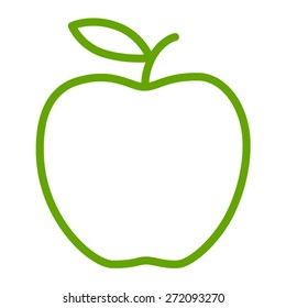 Green apple / delicious apple line art icon for apps and websites