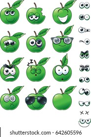 Green Apple Emoticons A emoticon set of apples with varying different expressions/faces