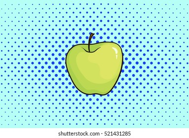 Green apple, hand drawn, pop art, illustration, fruit