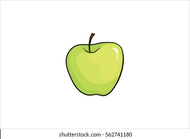 Green apple, illustration, fruit. Hand drawn isolated on white background. Pop art