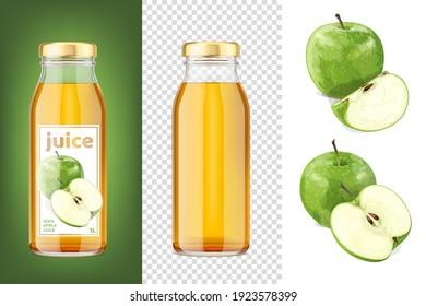 Green apple juice mockup 3D transparent bottles and apples. Vector Illustration.