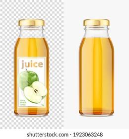 Green apple juice mockup transparent bottles. Vector Illustration.