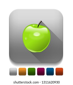 Green Apple With long shadow over app button
