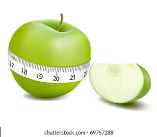 Green apple measured the meter, sports apple. Vector illustration