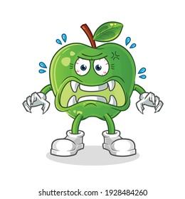 green apple monster vector. cartoon character