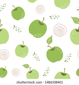 Green apple pattern Seamless repeating background with hand drawn apples in white background Vector