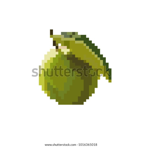 Green Apple Pixel Art 8 Bit Stock Vector Royalty Free