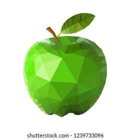 Green apple polygon design. Crystal like great looking green apple vector design.
