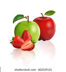 Green apple, red apple and strawberry isolated on white background, vector illustration.
