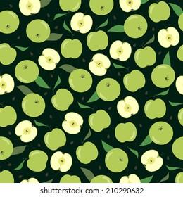 Green apple seamless pattern