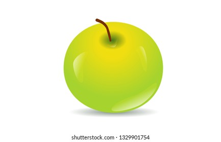 Green Apple with shadow on white background, vector, fruit, baby picture, food, diet.