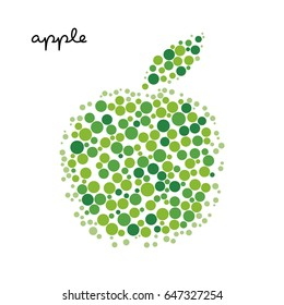 Green apple silhouette created from dots. Lot of round particles in the shape of fruit. Organic food concept.  Vector symbol for logo or label. Isolated on white background.