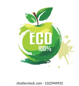 green apple vector symbol in grunge style