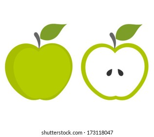 Green apple - whole and cut fruit. Vector illustration