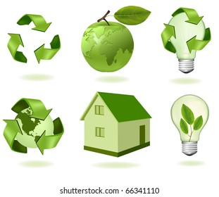Green apple with world map and ecology icons. Vector.