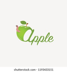 Green apple with worm and letters.