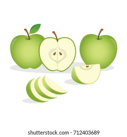 Green apples.Vector illustration.