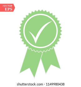Green approved or certified medal icon in a flat design. Rosette icon. Award vector eps10