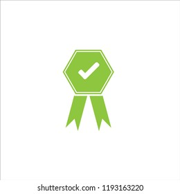 Green approved or certified medal icon in a flat design