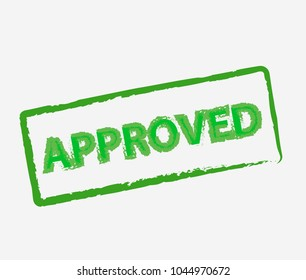 Green approved stamp, label, sticker or stick flat icon