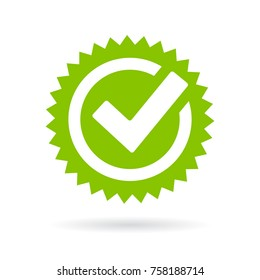 Green approved star sticker vector illustration isolated on white background