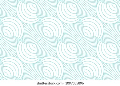 Green aqua line and white geometric pattern seamless circle abstract vector design.